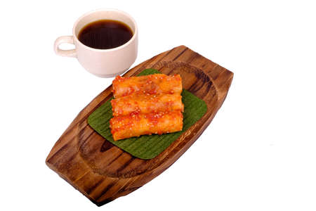 Traditional Malaysian food. Popia  isolated on white background. Stock Photo