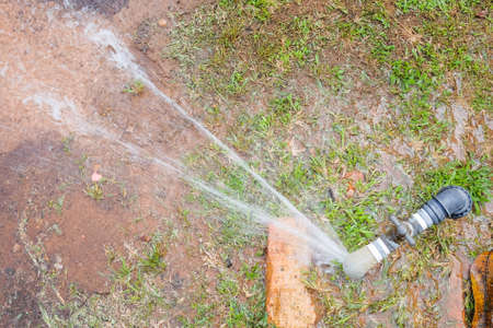 Water Pipe Burst. Galvanized water pipe is decay Stock Photo