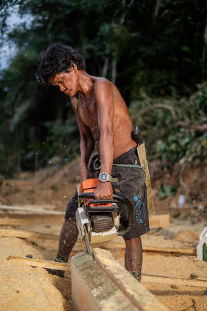 Muadzam Shah, Malaysia - 8 September 2018 : Unidentified man woodcutter cutting wood timber logs. He using a gasoline engine chainsaw as a main tool.