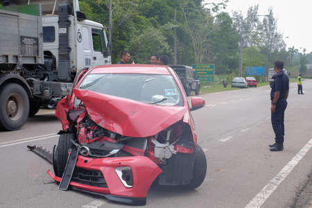 Muadzam Shah, Pahang - October 18th, 2018 : Car and motocycle condition after the accident during the Inter Agency Disaster Training Program 2018
