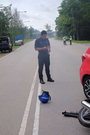 Muadzam Shah, Pahang - October 18th, 2018 : Police officers are on duty during the Inter Agency Disaster Training Program 2018