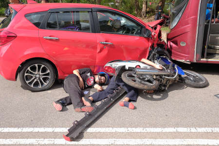 Muadzam Shah, Pahang - October 18th, 2018 :  Motorcyclists lying on the road after the accident during the Inter Agency Disaster Training Program 2018 Editorial