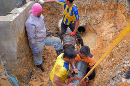 Nuadzam Shah, Malaysia - November 1st, 2018 : Construction site water supply project at working for welding the connecting of HDPE pipe Sajtókép