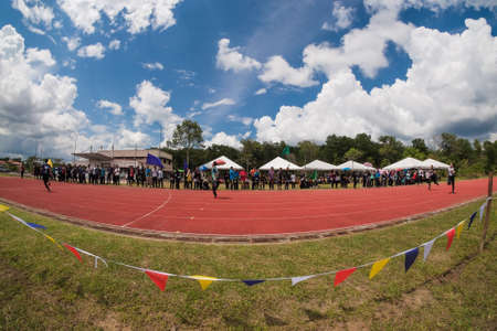 Muadzam Shah, Malaysia - November 22nd, 2018. Muadzam Shah's Vocational College annual sports game.  Athletes men and women  ran 100, 200, 400, 800 meters, relays 4 * 100 and 4 * 400