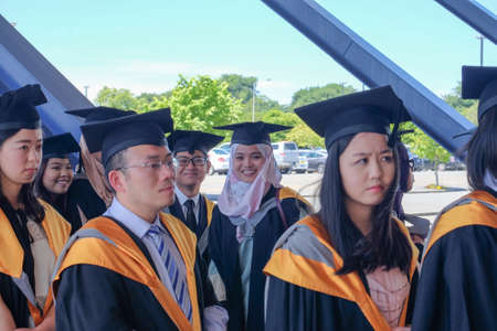 Christchurch, New Zealand - Disember 15th, 2017 : Cheerful faces University of Canterbury students   during convocation ceremony held by the university. It shown how grateful the student after studying hard to be success.