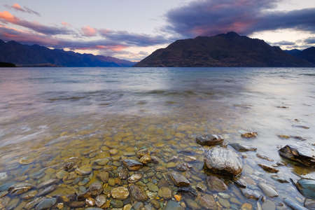 Beutiful Scenery at Lake Wakatipu Queentown New Zeland during sunset.