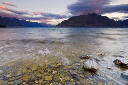 Beutiful Scenery at Lake Wakatipu Queentown New Zeland during sunset.