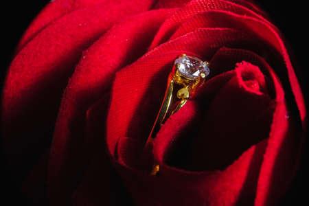 Close up, wedding ring  as wedding gift during Malay wedding ceremony. Stock Photo