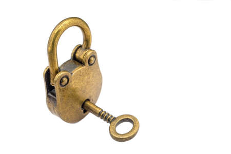 Bronze key and padlock isolated on white  background .