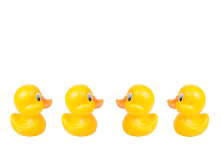 Plastic yellow duck toy isolated on white background