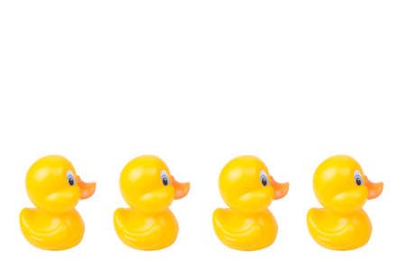 Plastic yellow duck toy isolated on white background Standard-Bild