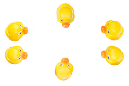 Plastic yellow duck toy isolated on white background Stock Photo