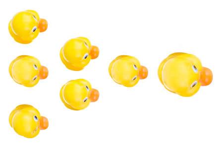 Plastic yellow duck toy isolated on white background 版權商用圖片