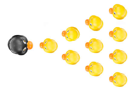 Plastic yellow duck toy isolated on white background 版權商用圖片