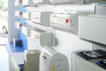 Segamat, Malaysia - June 22th, 2018 : Various brands of aircond at electronic department in hypermarket. Editorial