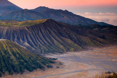 Nature landscape of surface wave of volcanic soil texture background at slope of Bromo mountain at  Bromo Tengger Semeru National Park, East Java, Indonesia Banco de Imagens