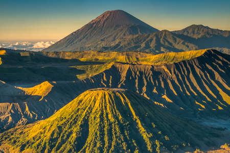 The beautiful sunrise at Mount Bromo volcano, the magnificent view of Mt. Bromo located in Bromo Tengger Semeru National Park, East Java, Indonesia