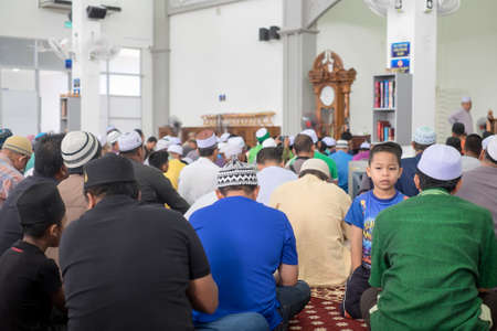 Muadzam Shah, Malaysia - August 24th, 2019 :  Muslim listening to the Sermon by Ustaz Adzhar Idrus in Dhuha at  Bandar Satelit mosque. He is a famous preacher in Malaysia.