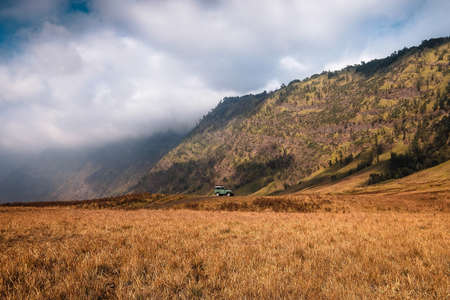 Amazing view of Teletubbies hill and Savana , Bromo Tengger Semeru National Park East Java Indonesia.