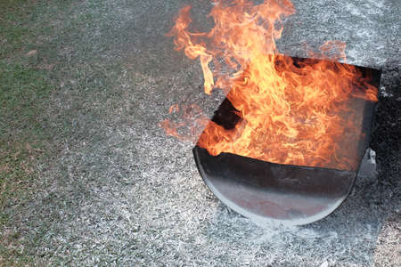 Image of ignited fire burning for fire drill demonstration background