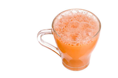 Teh tarik or pulled tea is a famous sweet milk tea in Malaysia. Bubble is floating isolated on white background