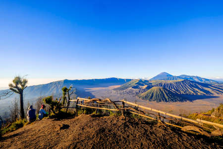 Mount Bromo volcano during sunrise from viewpoint. Mount Bromo is an active volcano and one of the most visited tourist attractions in East Java, Indonesia. KK Stock fotó