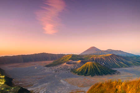 Nature landscape of surface wave of volcanic soil texture background at slope of Bromo mountain at Bromo Tengger Semeru National Park, East Java, Indonesia