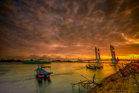 Beautiful Terengganu Draw Bridge during sunrise. The newly minted bridge provides road connection between the mainland Kuala Terengganu and Seberang Takir. Image contains excessive noise