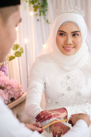 A muslim bride  getting solemnization . Malay Traditional Wedding. In a islamic wedding the most important thing is the Nikah ceremony. Stok Fotoğraf