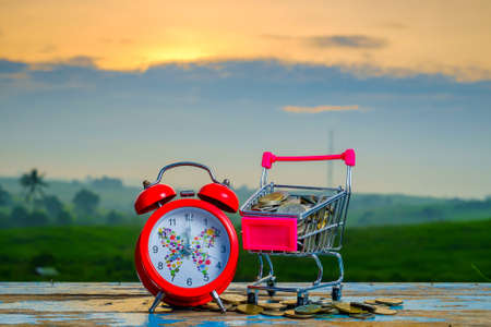 Mini supermarket shopping cart , coins and alarm clock on blurred green nature background with beautiful sunrise