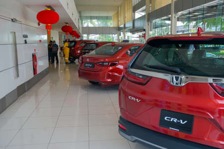 Kuantan, Malaysia - February 23rd,2021 : The Honda car dealership on Kuantan , Malaysia  with new cars for sale .