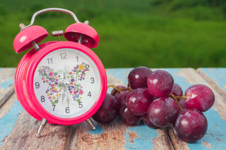 Red grapes  and alarm clock on rustic wooden with green field background , fresh fruit concept