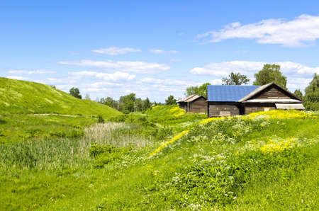 Tranquil colorful rural summer landscape with old wooden house. Horizontal image photo