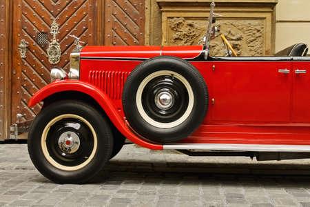 rarity: Red rarity vintage car Editorial