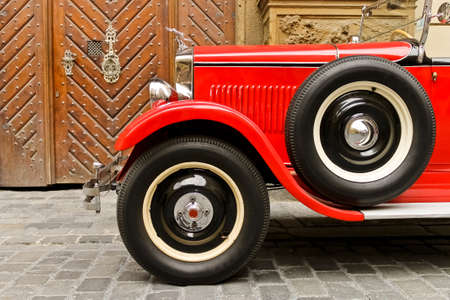 Red rarity vintage car Editorial