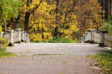 Stone bridge autumn, Pavlovsk park, suburb of Saint Petersburg, Russia photo