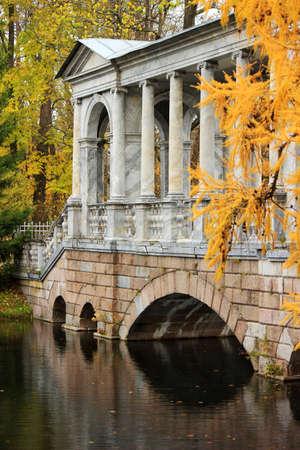 selo: Marble Bridge in the park Tsarskoye Selo, Russia Editorial