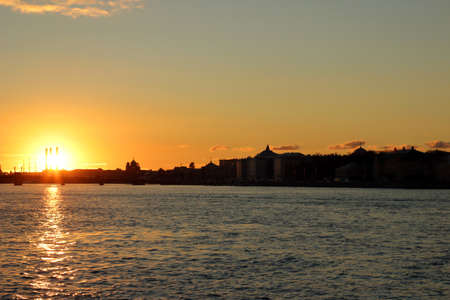saint petersburg: Sunset over Neva river, Saint Petersburg, Russia