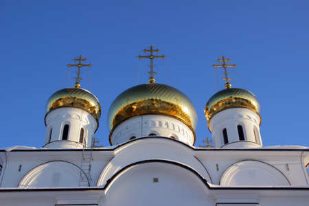 orthodoxy: Cupola of russian orthodox church at winter sunset Stock Photo
