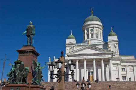 Helsinki Cathedral on Senate Square and monument to Alexander II photo