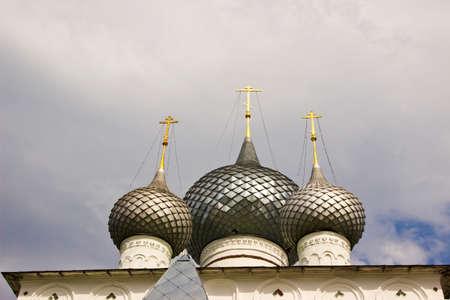 uglich russia: Domes of Orthodox Resurrection monastery in town Uglich, Russia Stock Photo