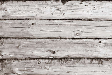 Parallel wooden logs texture background. Horizontal image, black and white colors photo