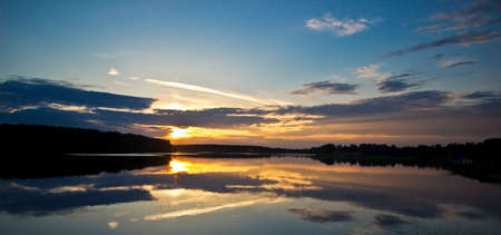 Panoramic landscape with tranquility sunset photo