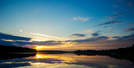 tranquility: Panoramic landscape with tranquility sunset Stock Photo