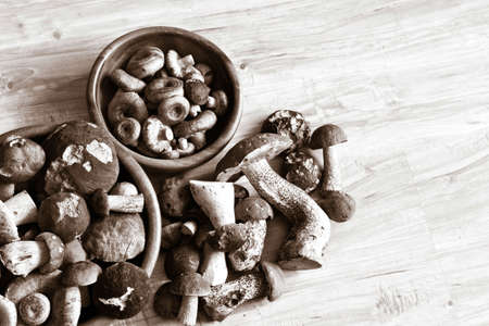 Mixed mushrooms in wooden bowls on wooden background.  photo