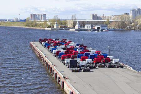 Trucks on pier photo