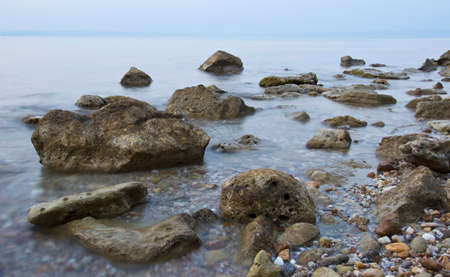 tranquility: Tranquility seashore landscape with stones Stock Photo