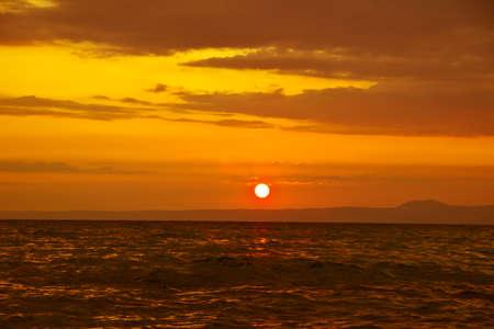 Beautiful sunrise over Aegean sea photo