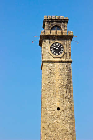galle: Old clock tower in Galle Fort Sri Lanka. Vertical image