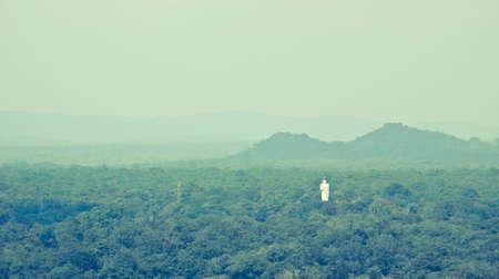 sigiriya: Landscape with mounts and Buddha statue, Sigiriya. Stock Photo